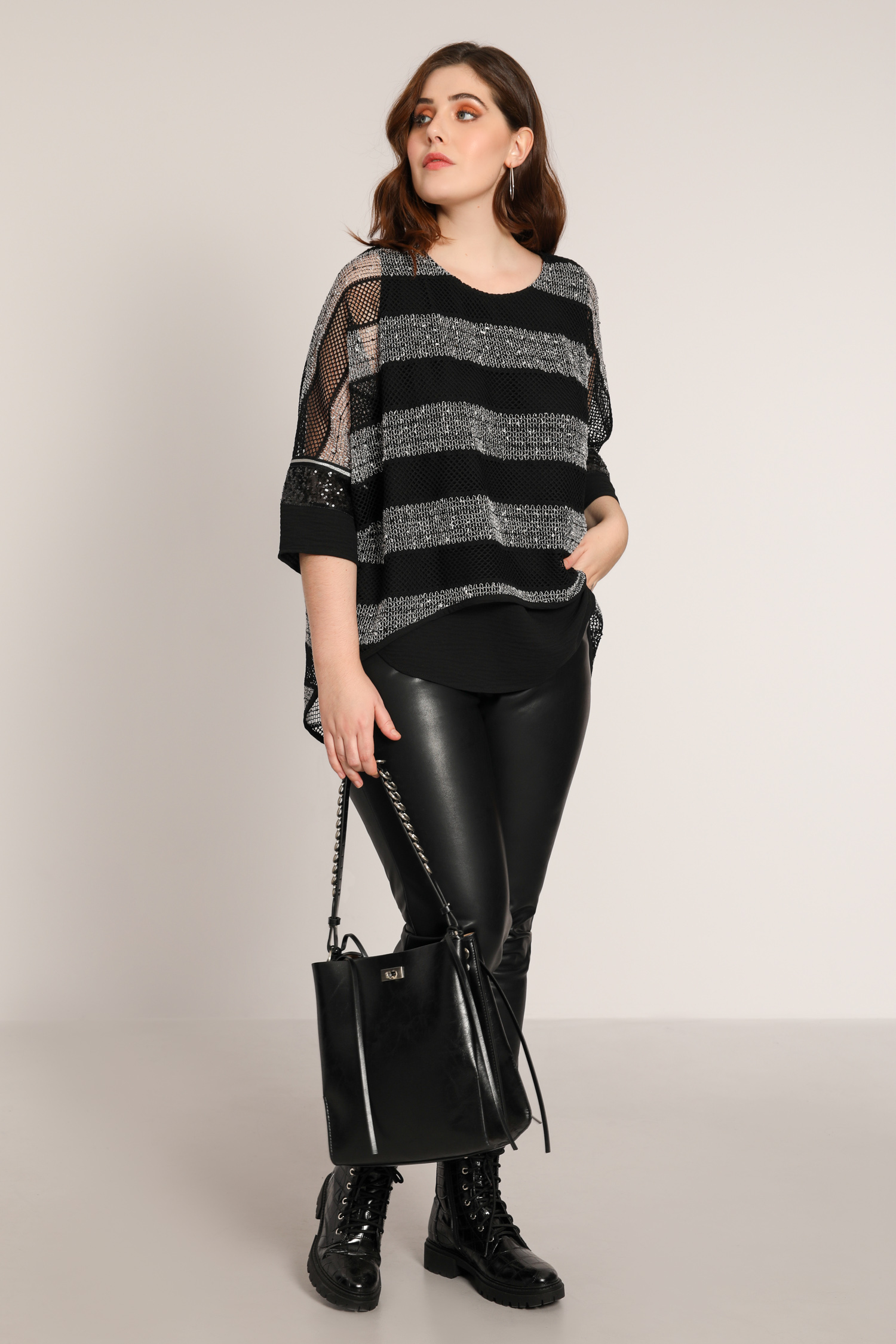 Layered fine-knit striped top
