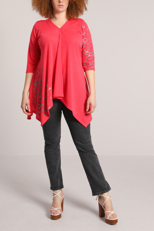 Fine knit tunic with screen printing
