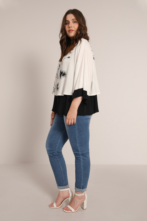 Two-tone overlay blouse