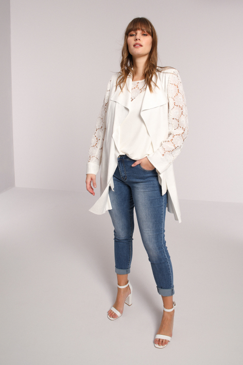 Faux / lace cascading collar jacket