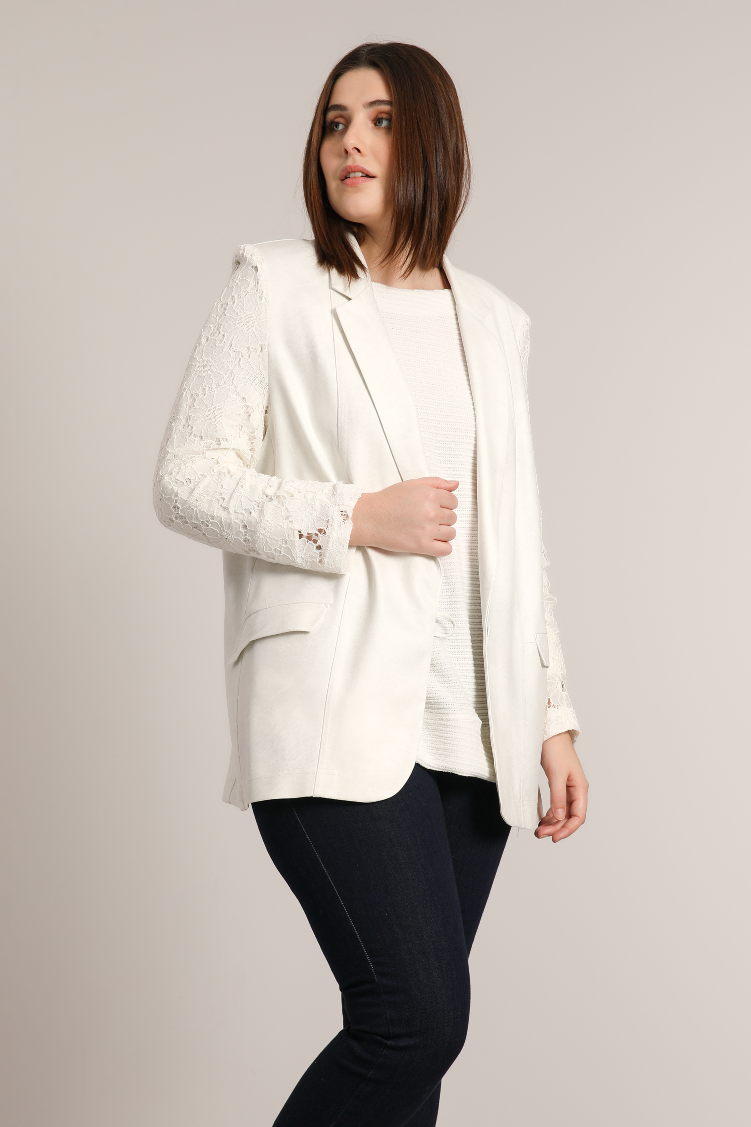 tailored jacket in faux and lace
