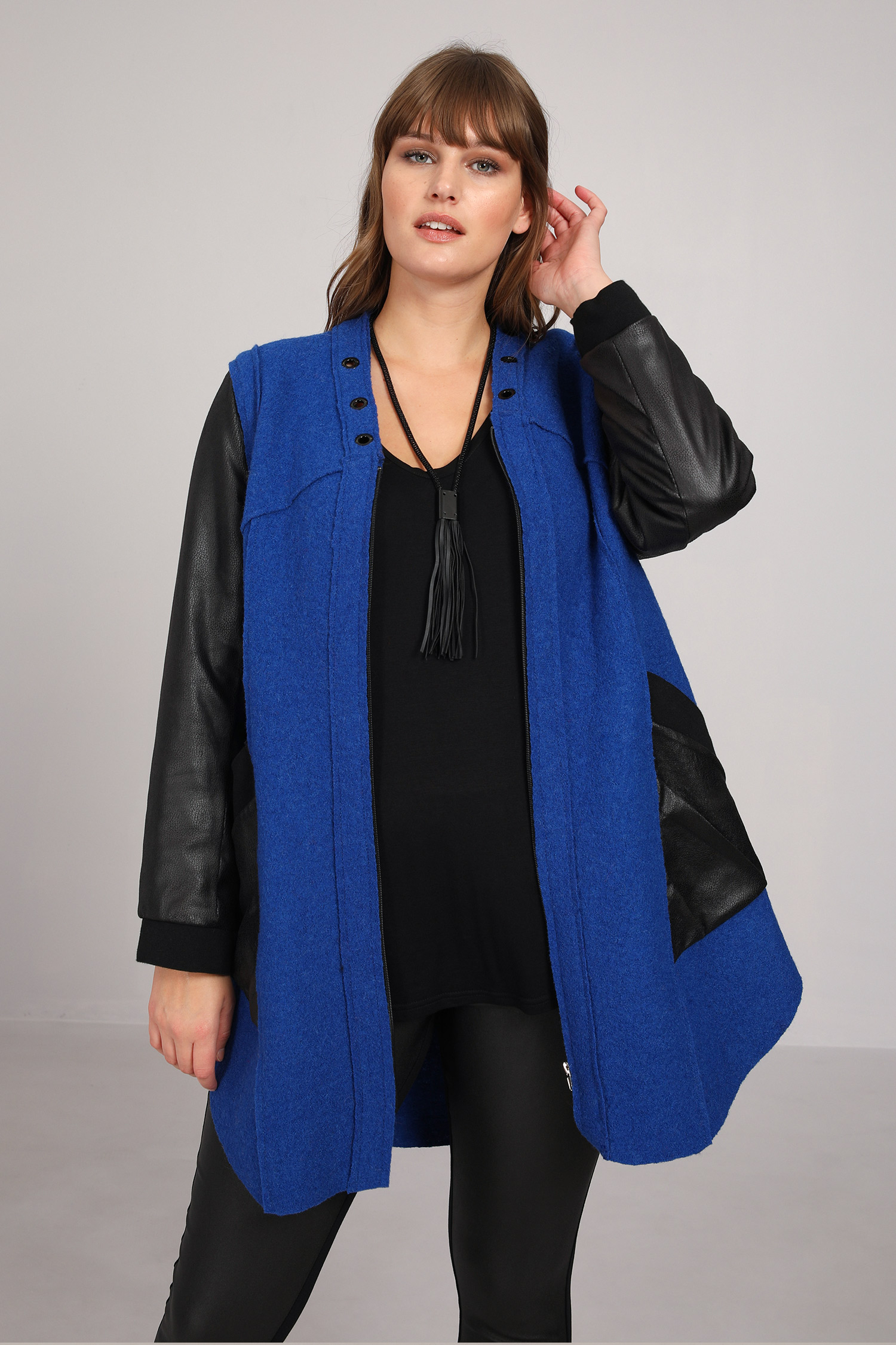 Two-material boiled wool jacket