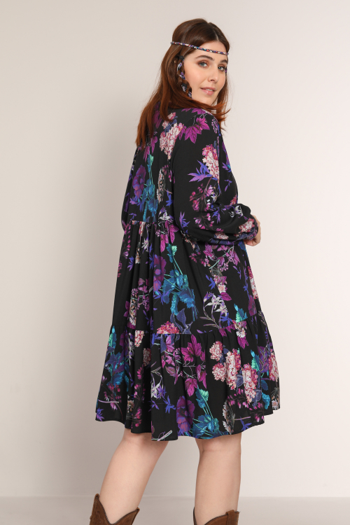 Floral print dress with ruffled collar (DELIVERY 25/30 OCTOBER)