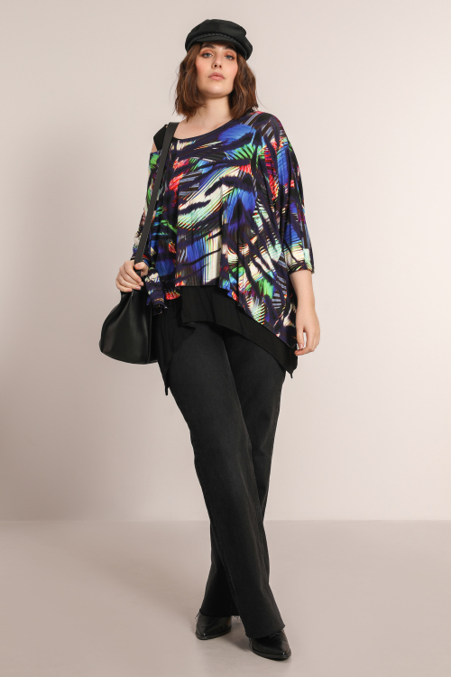 Printed knit blouse