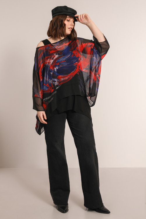 Oversized voile blouse