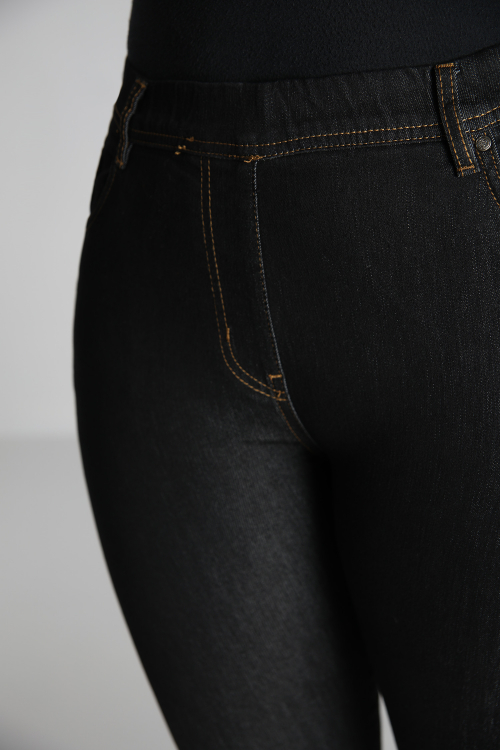 High elastic waist raw jegging jeans