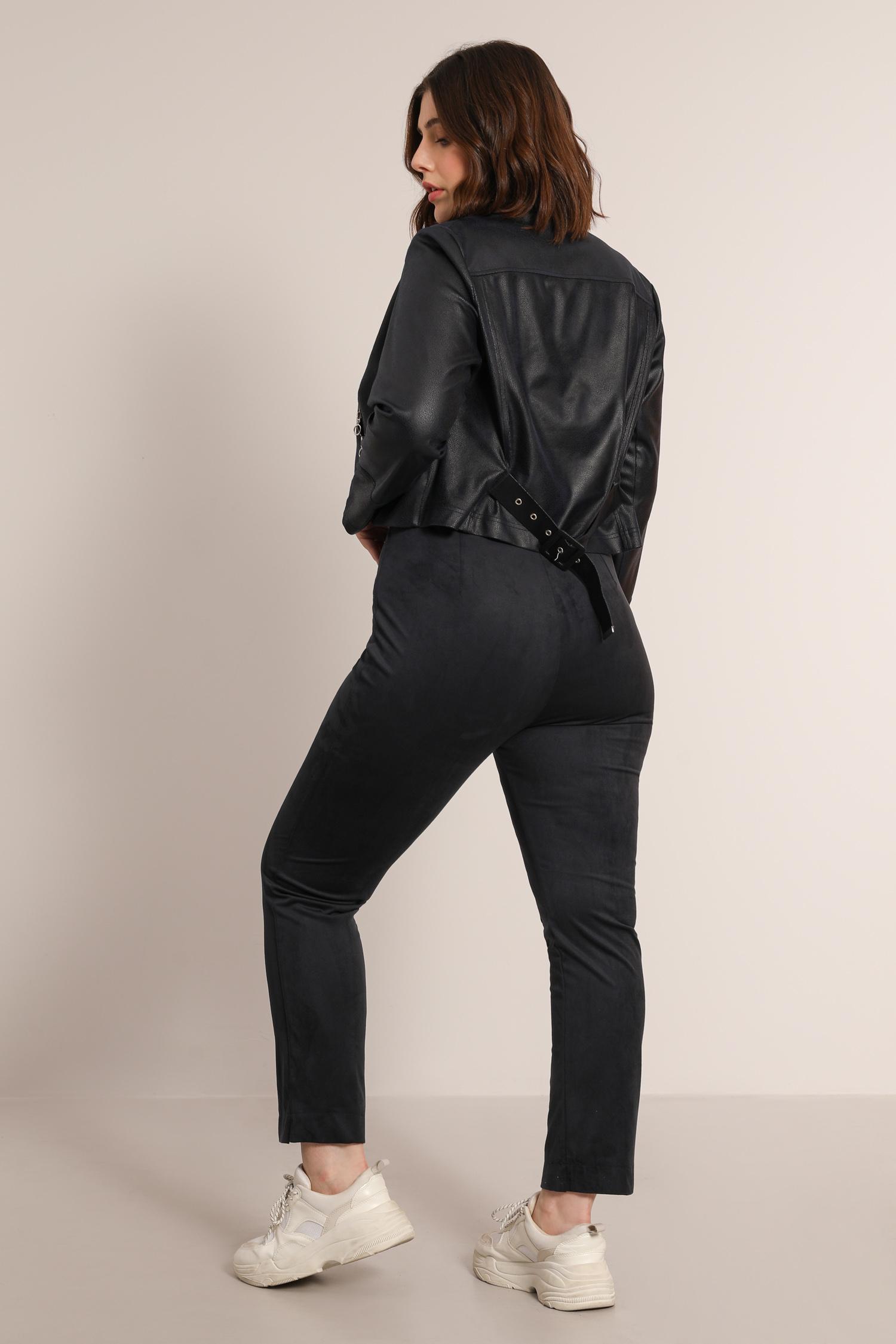 Straight pants in alcantara