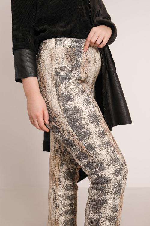 Chunky snake print suede pants