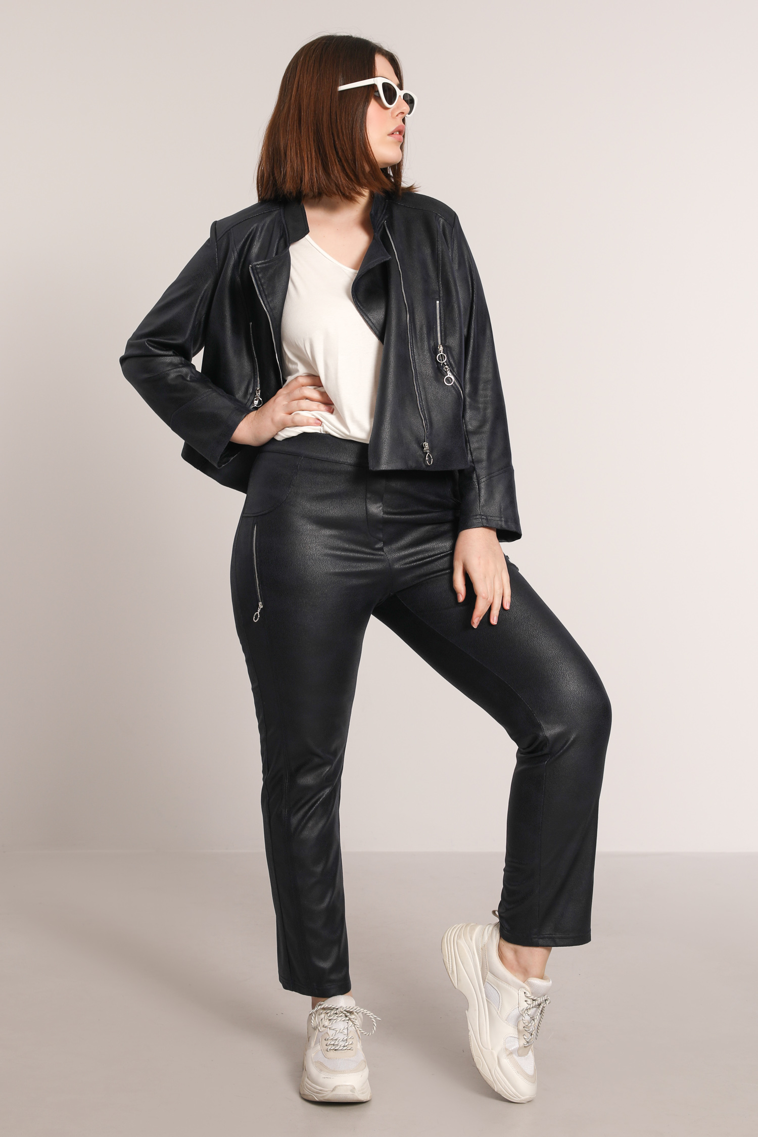 Straight vegan leather pants