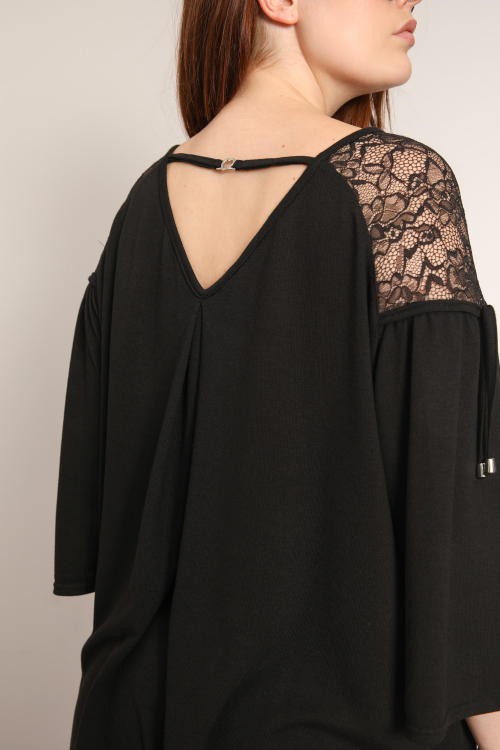 Fine knit and lace sweater