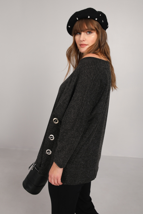 Knit sweater with eyelets