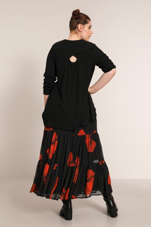 Ruffled printed voile skirt
