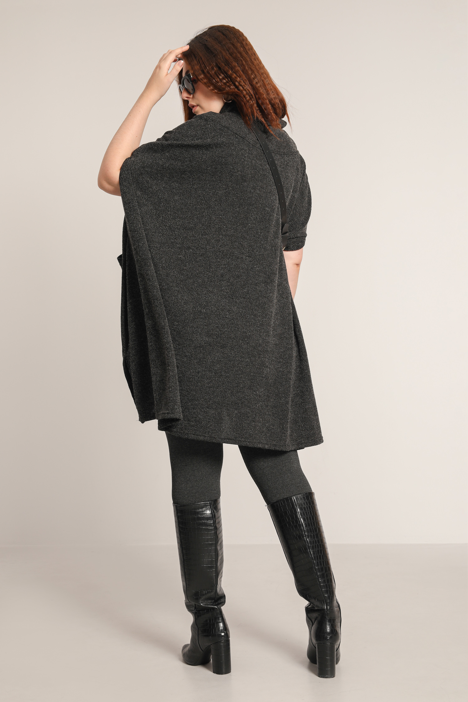 Wide collar poncho