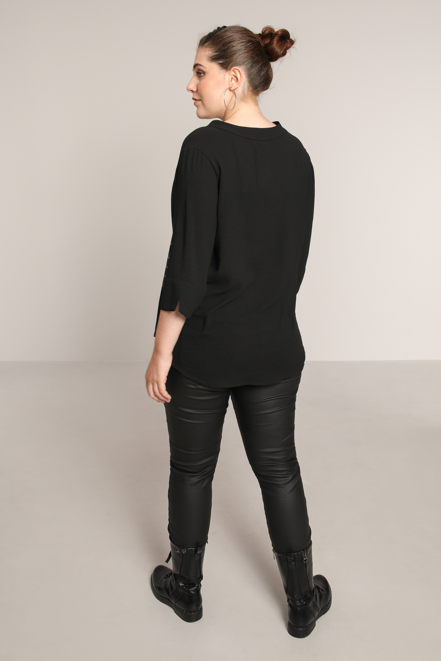 Buttoned blouse with placed design