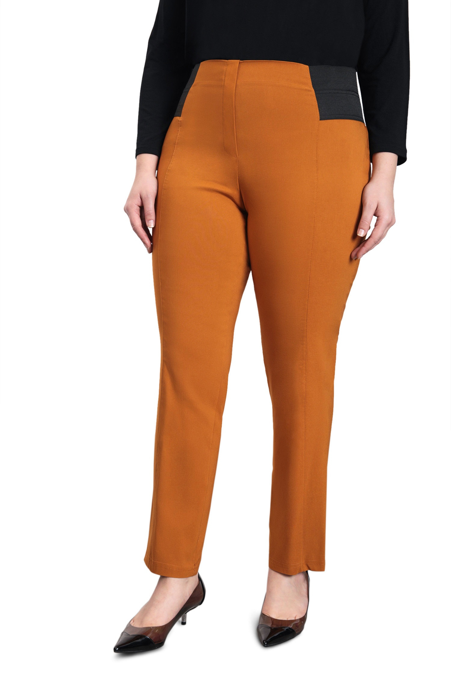 Bengaline straight pants with waist band