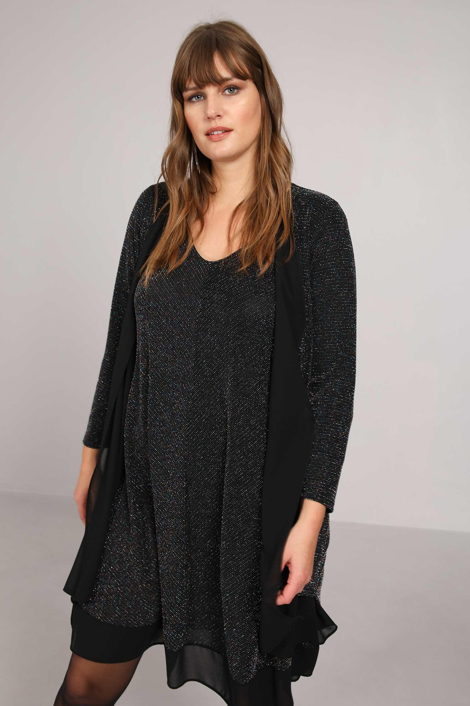 Straight vest in glittery knit