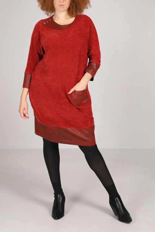 Chenille and faux mesh dress