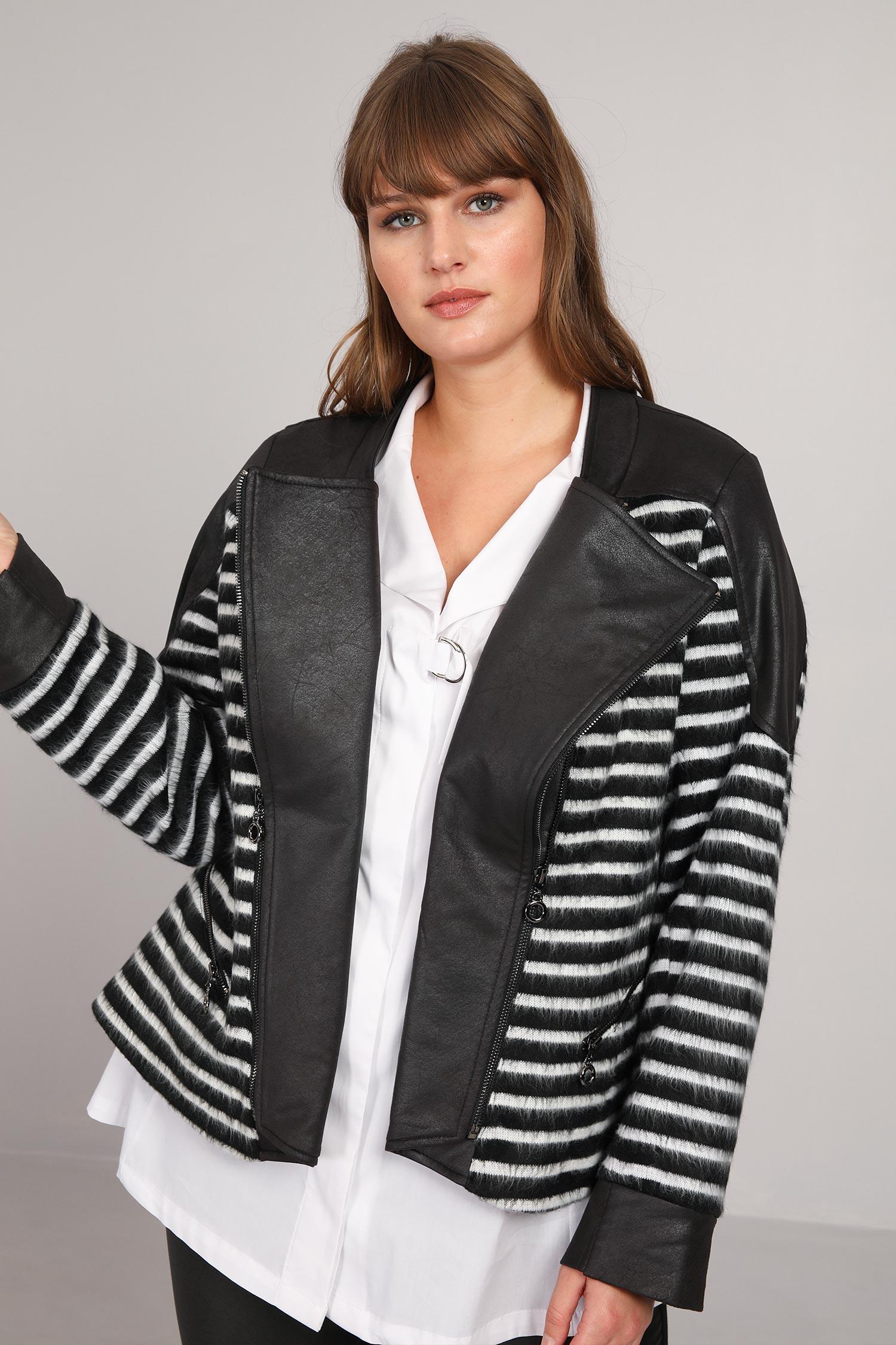 Biker jacket in woolen jacquard