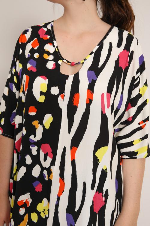 Printed fibrane blouse