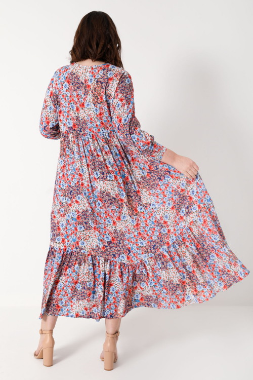 long floral dress with piping (DELIVERY 25/30 OCTOBER)