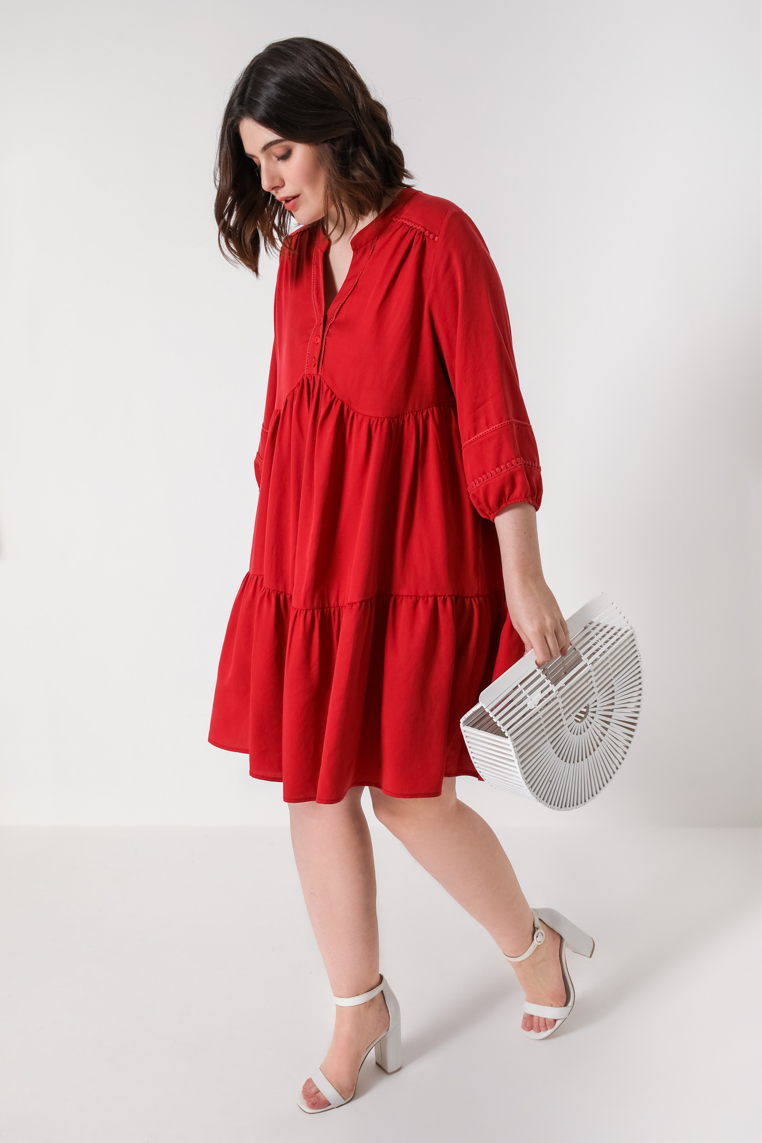 Plain midi bohemian style tencel dress