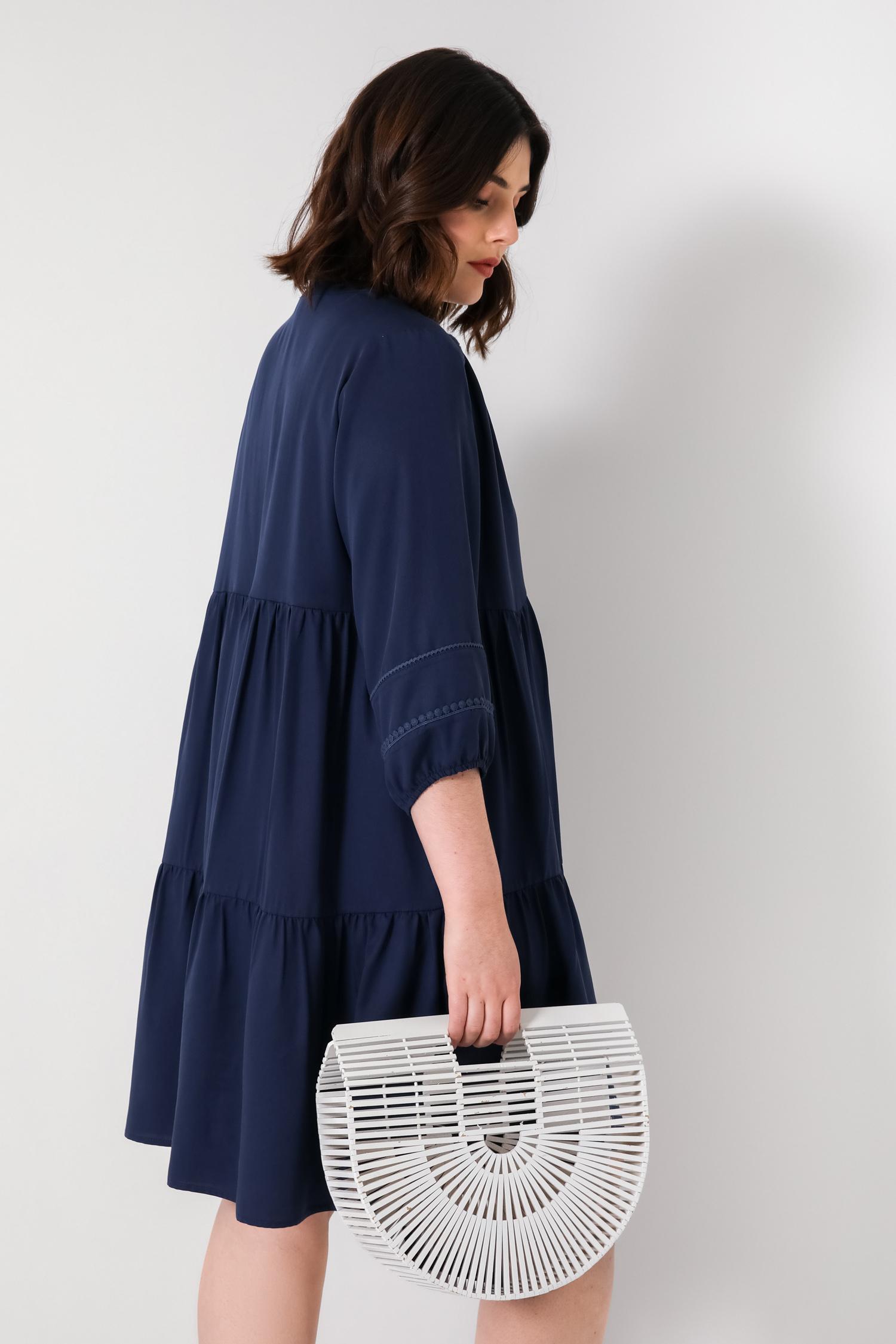 Plain midi bohemian style tencel dress