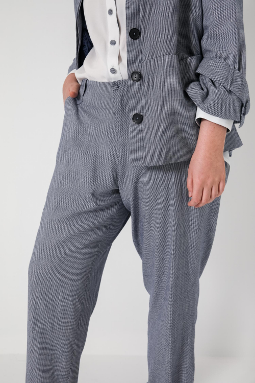 Vichy-effect viscose trousers