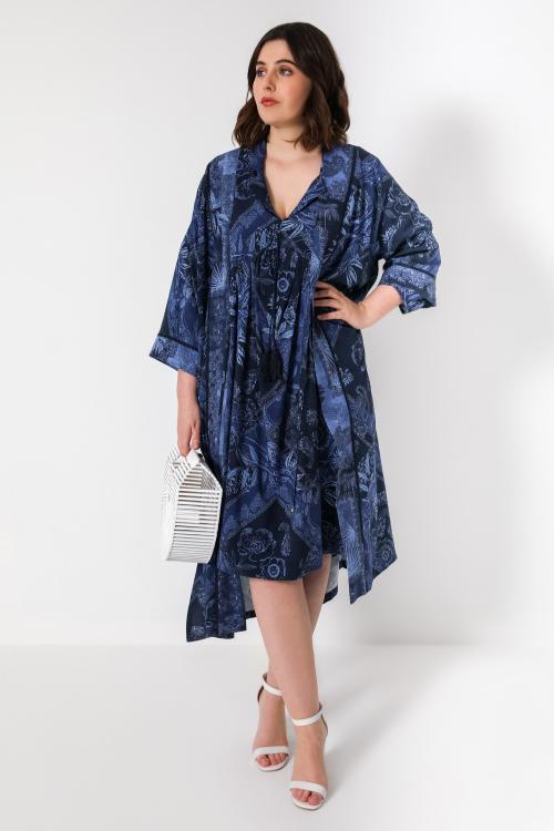 Long printed fibranne kimono with braid