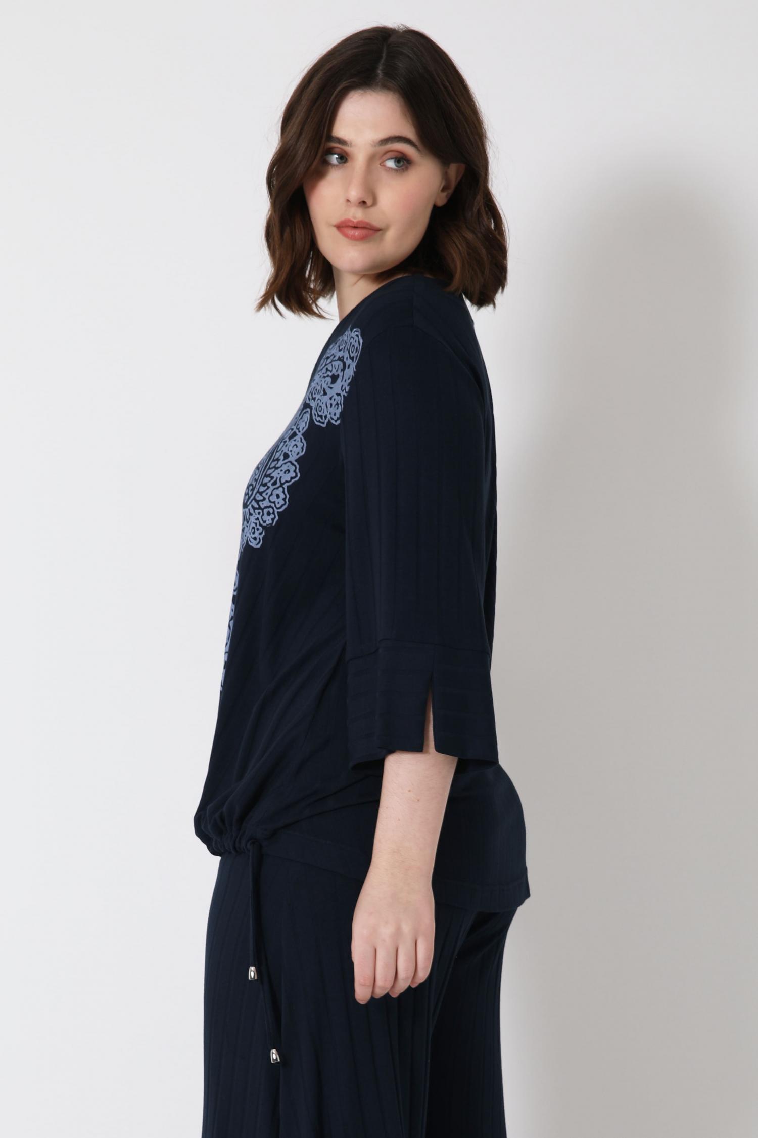 T-shirt in screen-printed plain rib