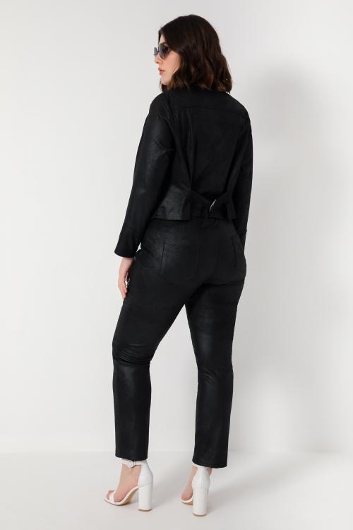 Straight vegan leather pants