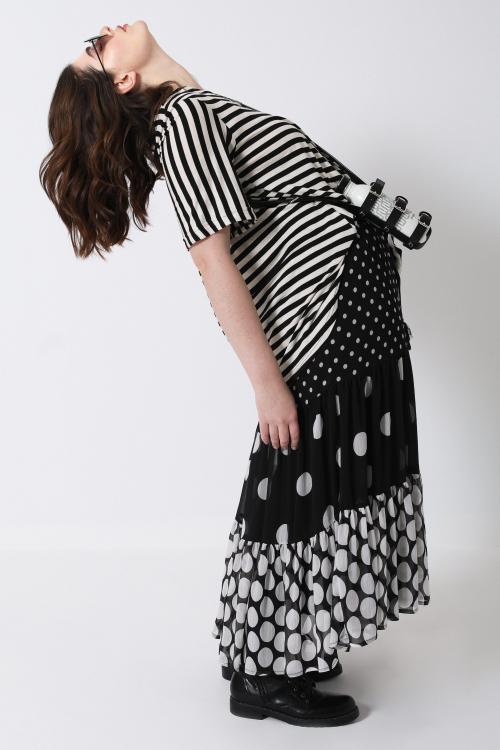 Long polka-dot printed voile skirt