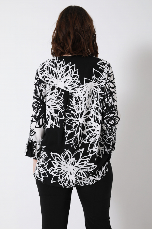 Printed blouse with zip