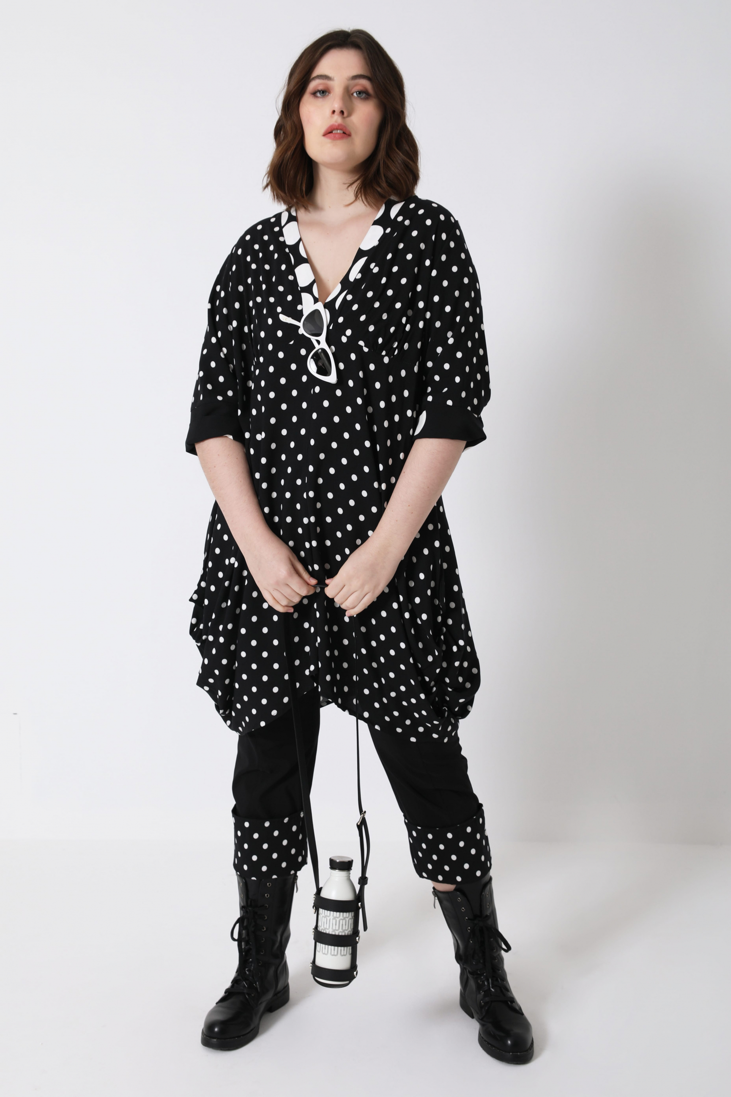 Long tunic in fibranne with polka dots