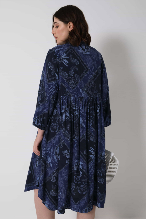 Printed viscose dress with drawstring