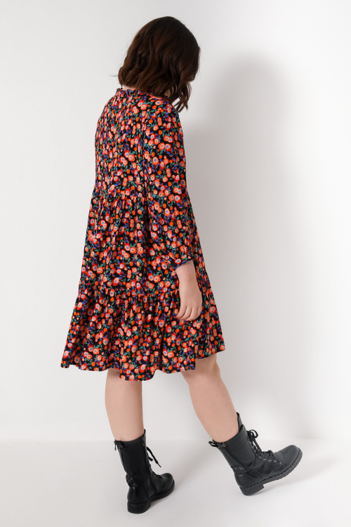 Midi dress in printed fibranne