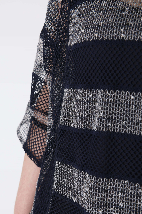 Striped mesh sweater.