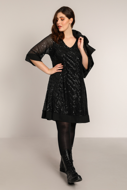 A-line dress in sequined veil