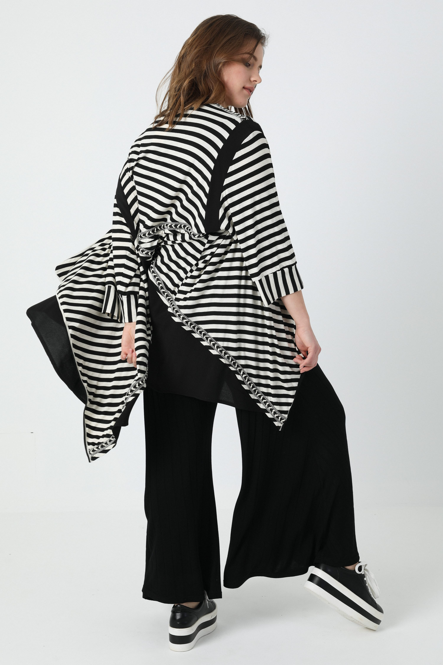 Striped and plain knit cardigan