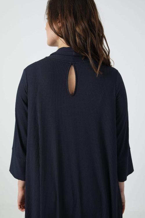Tunic in plain rib with scarf