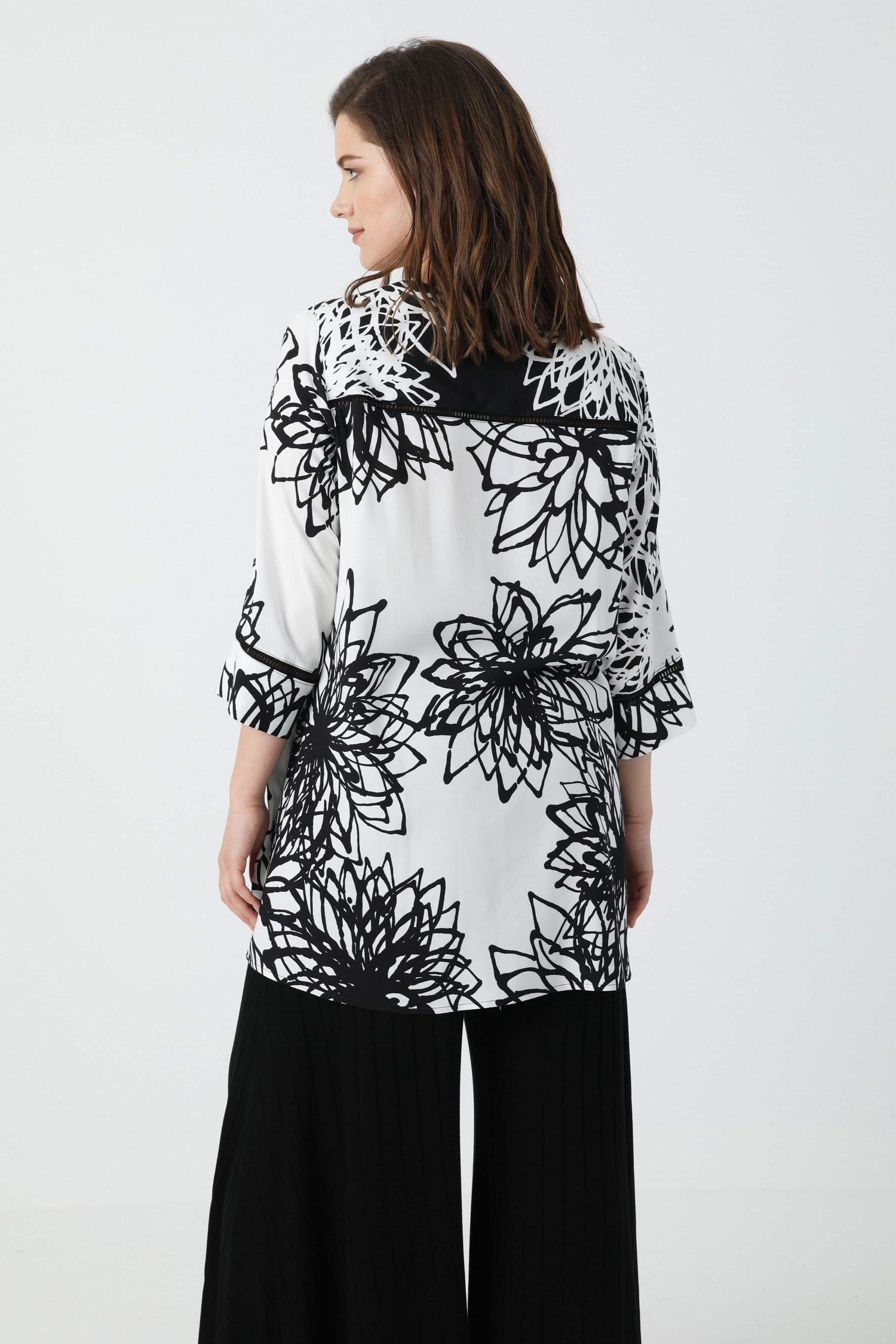 Printed viscose tunic with braid