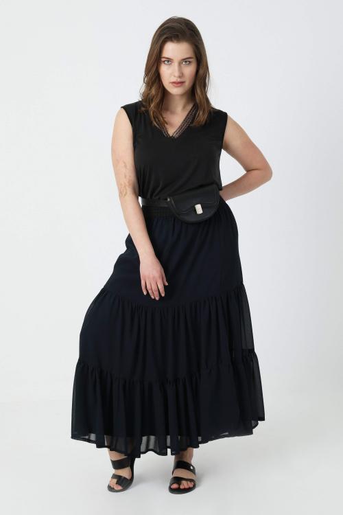 Plain voile ruffled skirt