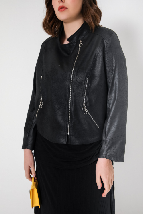 Short vegan leather biker jacket
