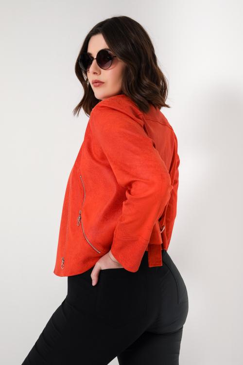 Short vegan leather biker jacket