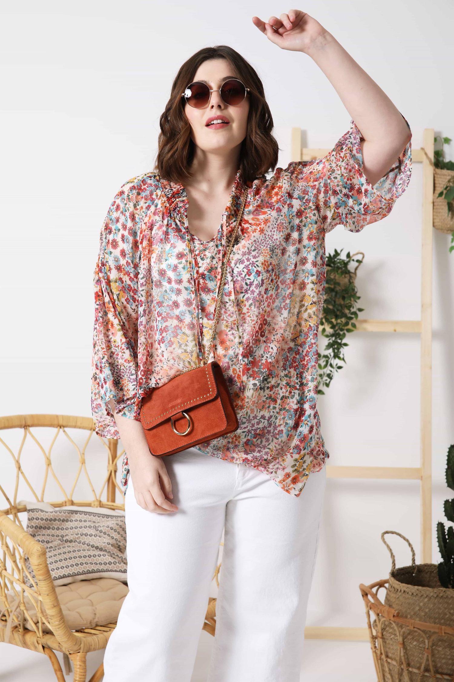 Printed voile blouse