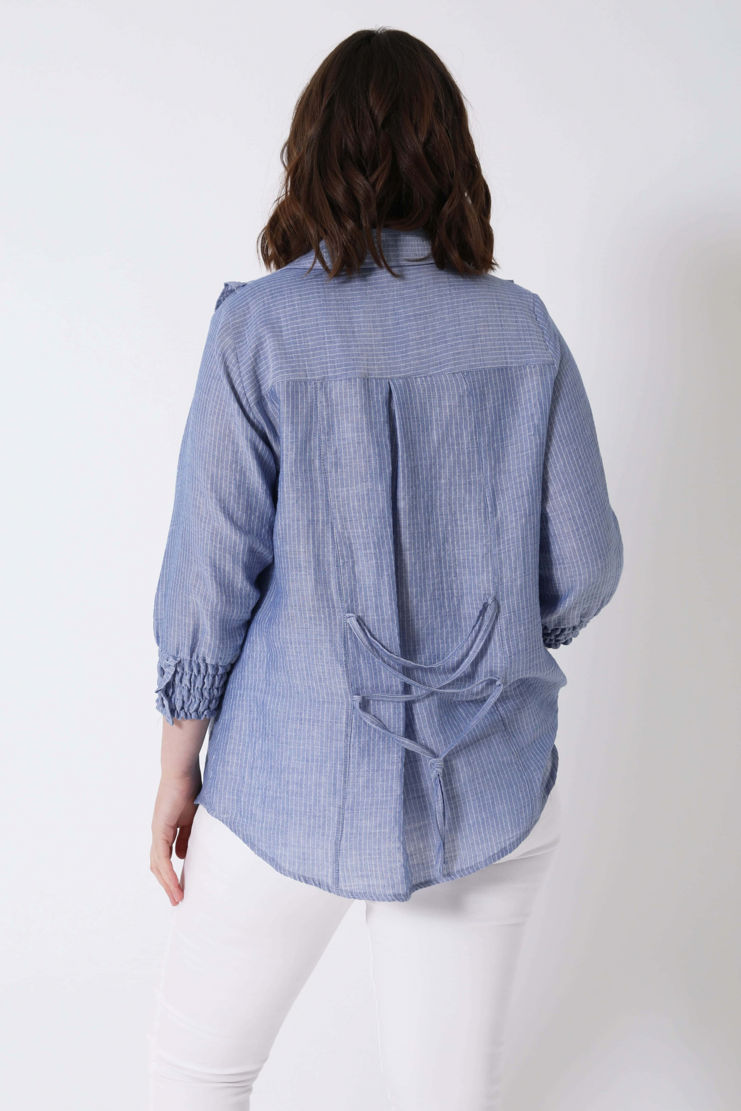 Striped cotton chambray shirt