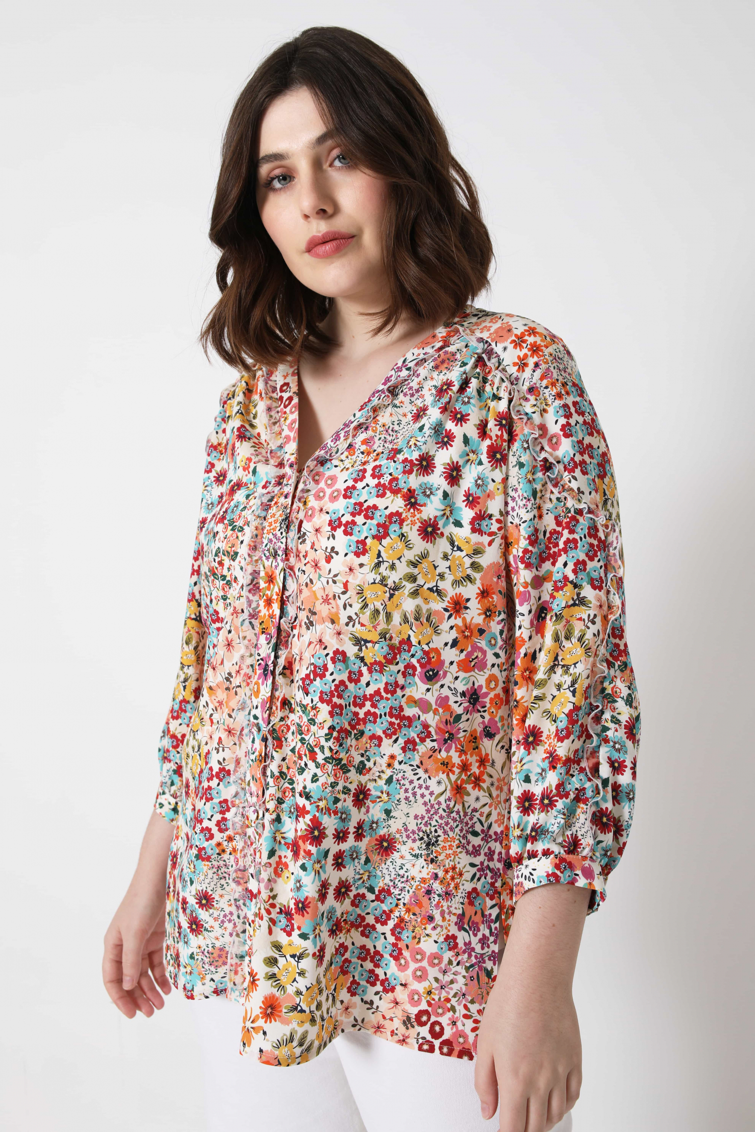 Floral printed viscose shirt (shipping 5/10 February)
