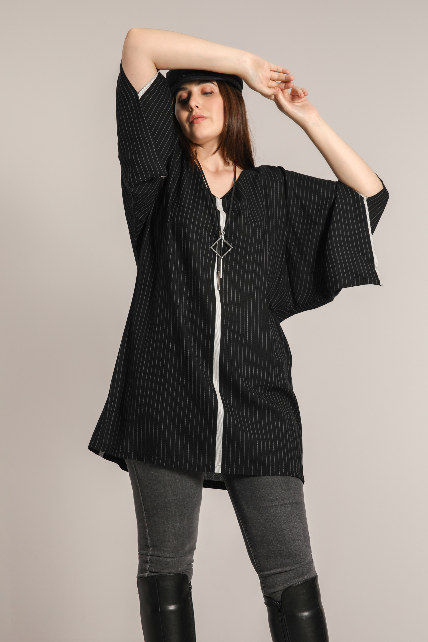 Striped tunic with placed band