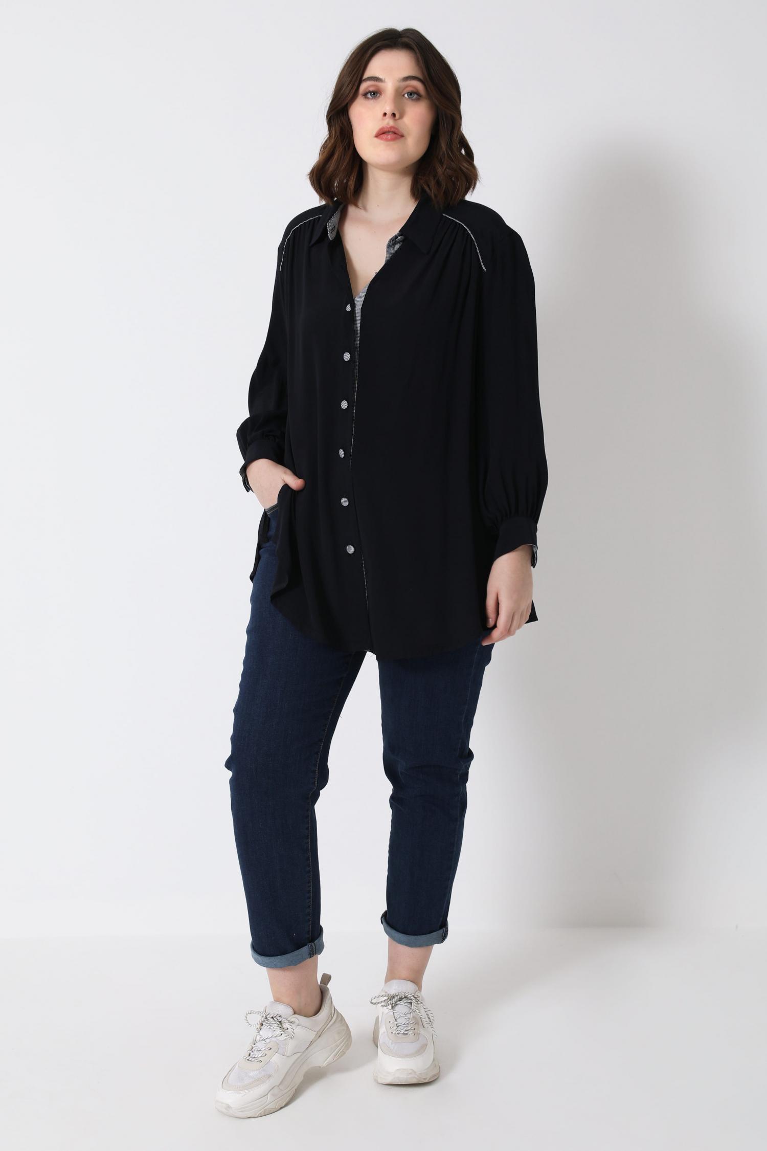 Plain viscose shirt with belt