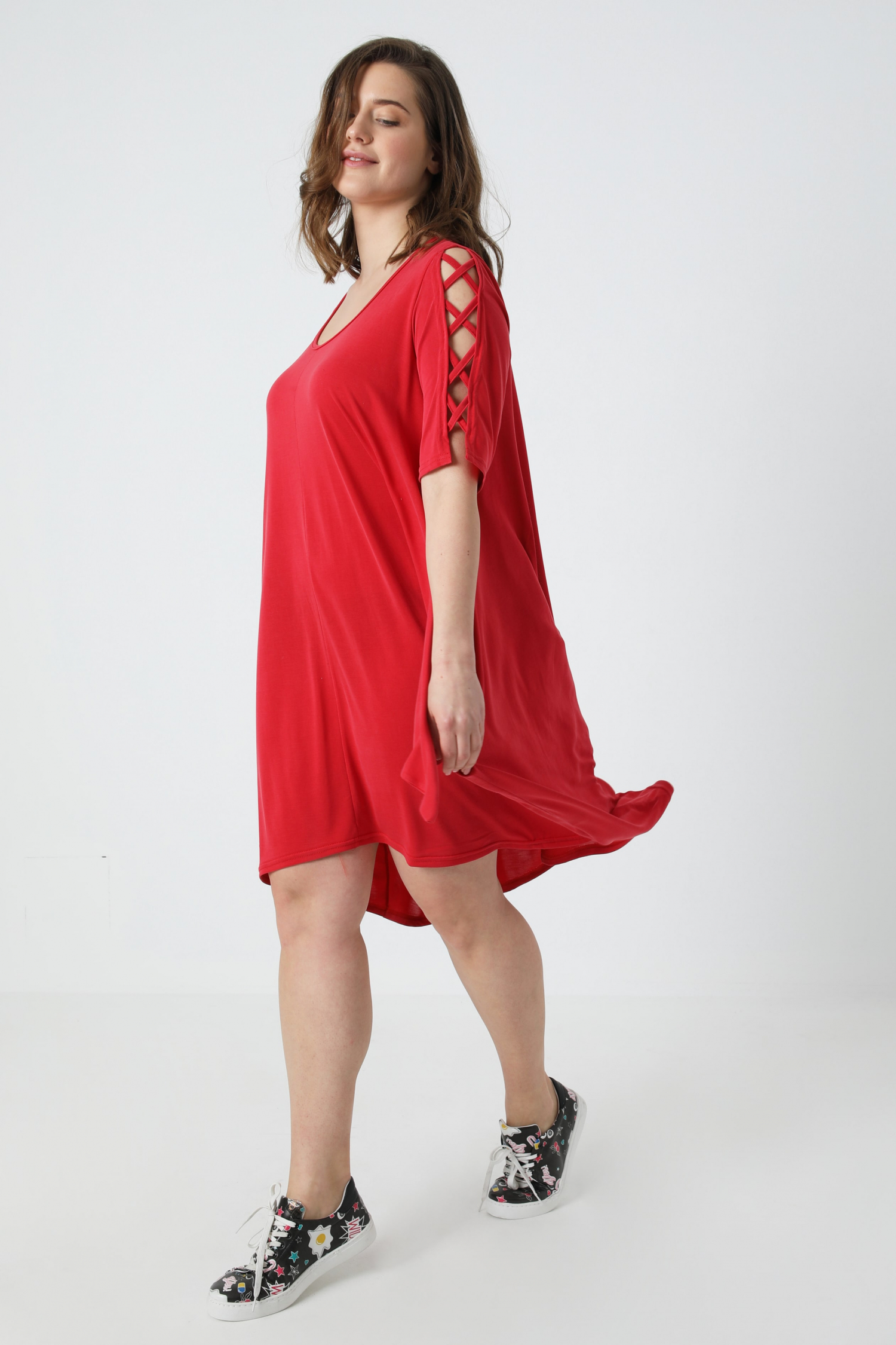 Modal dress with fancy sleeves