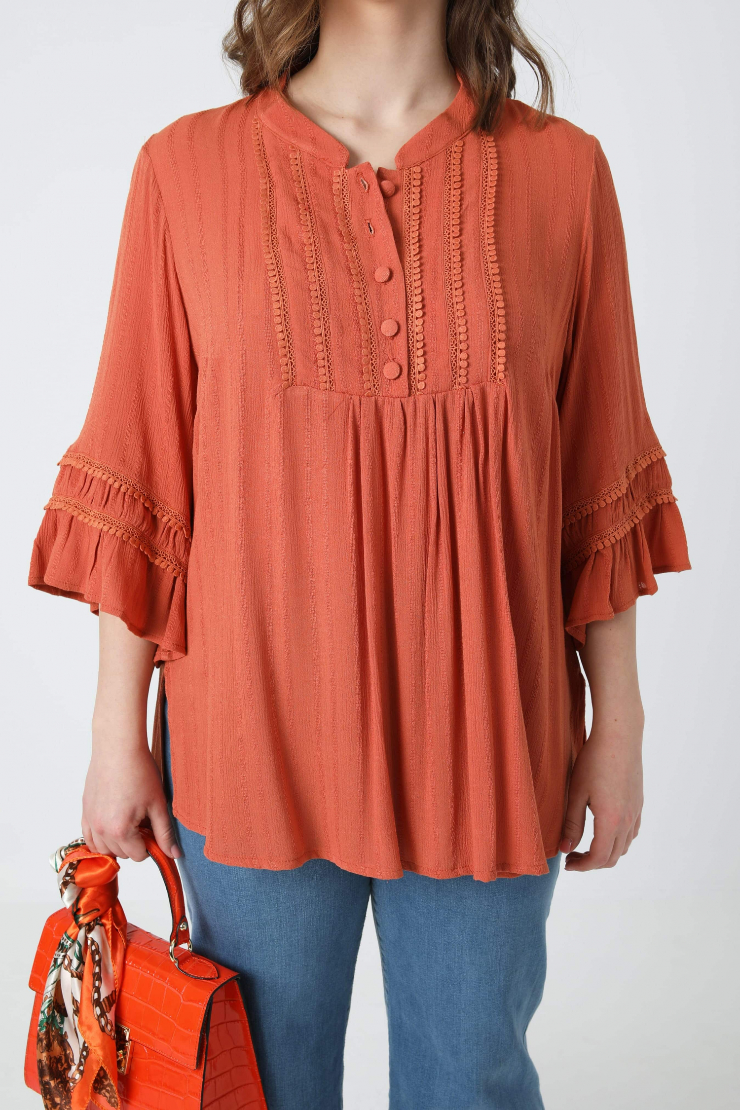 Striped-effect crepon blouse with bib